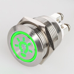 Stainless steel push buttons Ø0.75 inch LED Symbol Green...