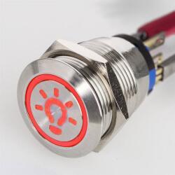 Edelstahl Druckschalter Ø19mm LED Symbol Licht Rot...