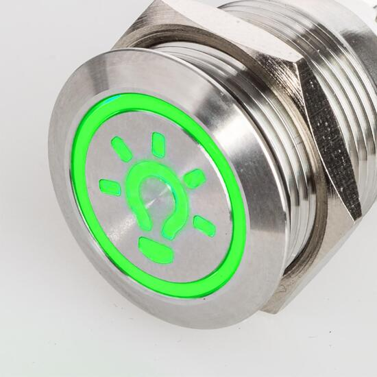 Stainless-steel push-button Ø 0.75 inch LED symbol light green 230V