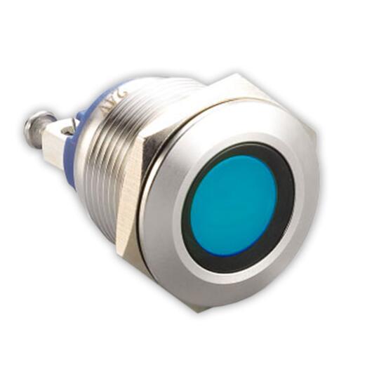 LED-Kontrollleuchte Ø19mm IP67 Edelstahl blau