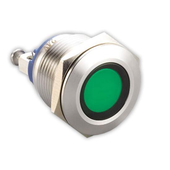 LED-Kontrollleuchte Ø19mm IP67 Edelstahl grün