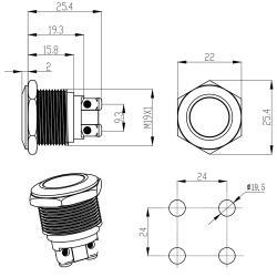 LED-Kontrollleuchte Ø19mm IP67 Edelstahl gelb