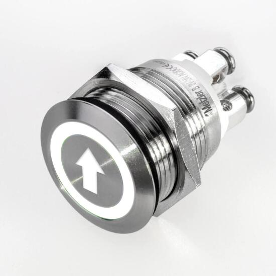 Stainless-steel push-button Ø 19 mm LEd symbol arrow white