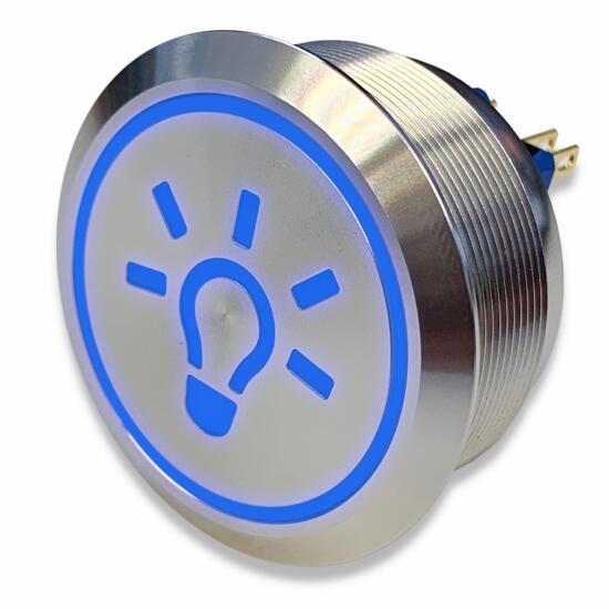 Edelstahl Drucktaster Ø40mm, 2-polig, 10 Pin, Symbol Licht LED-Blau