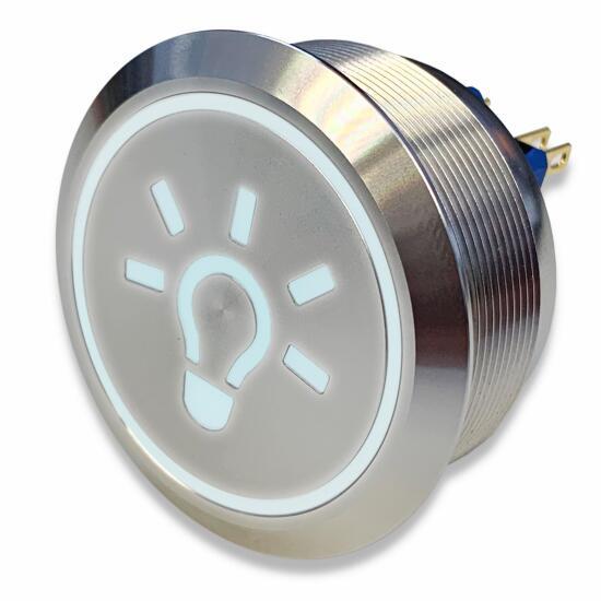 Edelstahl Drucktaster Ø40mm, 2-polig, 10 Pin, Symbol Licht LED-Weiss