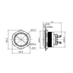 Edelstahl Drucktaster Ø40mm, 2-polig, 10 Pin, Symbol Licht LED-Gelb
