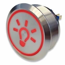 Stainless-steel push-button Ø 40 mm light symbol LED red