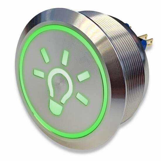 Stainless-steel push-button Ø 40 mm light symbol LED green