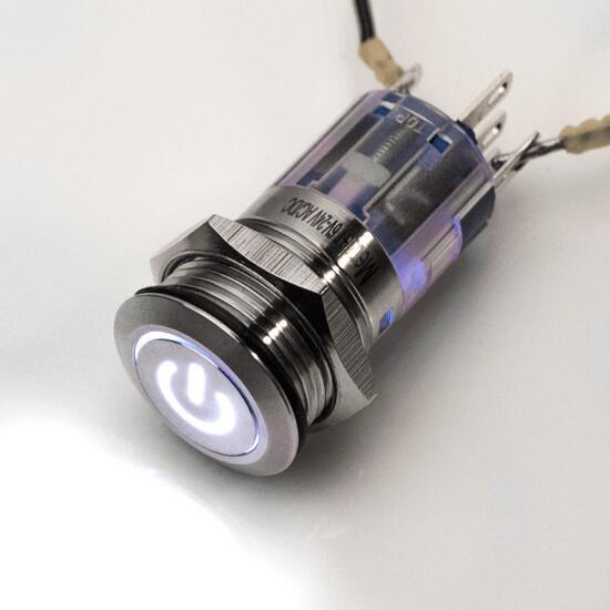 Edelstahl Druckschalter rastend Ø16mm 6-24V LED Power-Symbol weiss