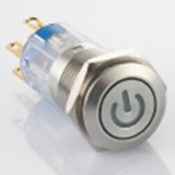 Edelstahl Druckschalter Ø16mm Flach LED...