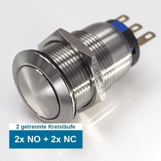 Edelstahl Druckschalter Ø16mm mit gewölbter Oberfläche 2-polig rastend