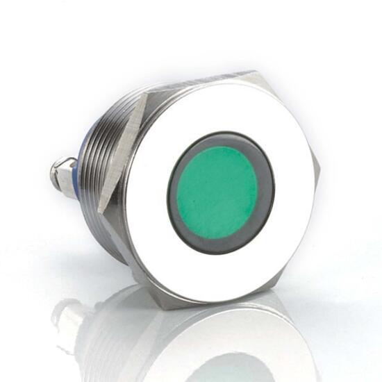 Edelstahl Kontrollleuchte Ø 22mm 230V Schraub-Kontakte LED-Grün