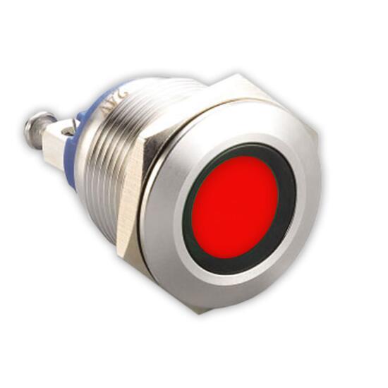 Edelstahl Kontrollleuchte Ø 22mm 230V Schraub-Kontakte LED-Rot