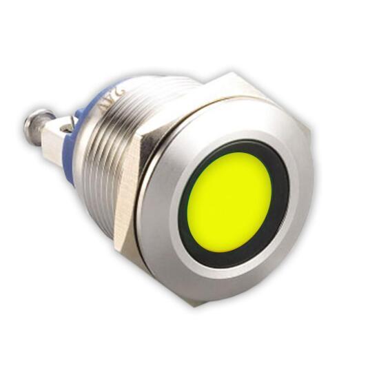 Edelstahl Kontrollleuchte Ø 22mm 230V Schraub-Kontakte LED-Gelb