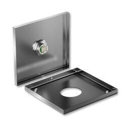 Metzler ultraflacher Edelstahl Drucktaster rostfrei IP67 - Einbau Durchmesser Ø 19 mm - Tastend - LED Blau
