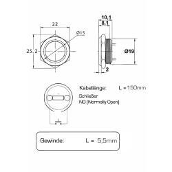 Metzler ultraflacher Edelstahl Drucktaster rostfrei IP67 - Einbau Durchmesser Ø 19 mm - Tastend - LED Weiß