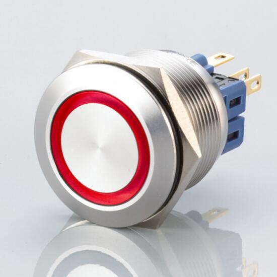 Edelstahl Drucktaster Ø25mm Flach LED Ring Rot