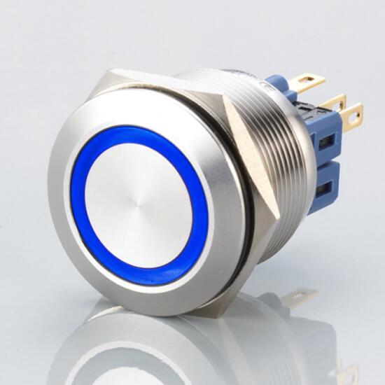 Edelstahl Drucktaster Ø25mm Flach LED Ring Blau