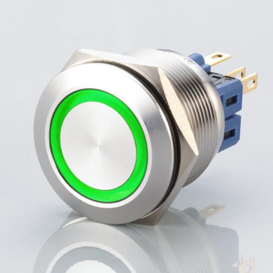 Edelstahl Drucktaster Ø25mm Flach LED Grün