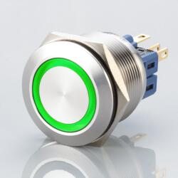 Stainless steel push buttons Ø0.99 inch flat LED Green