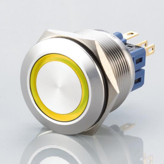 Edelstahl Druckschalter Ø25mm Flach LED Gelb