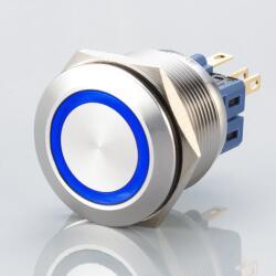 Edelstahl Druckschalter Ø25mm Flach LED Blau