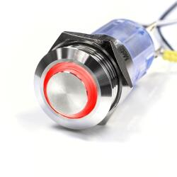 LED Push button - Ø 16 mm - stainless-steel -...