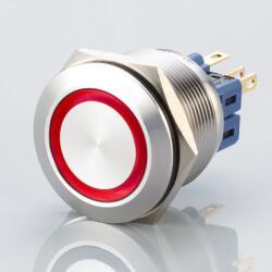 Edelstahl Druckschalter Ø25mm Flach LED rot