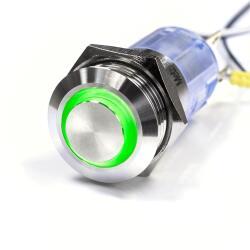 Edelstahl Druckschalter Ø16mm Hervorstehend LED...