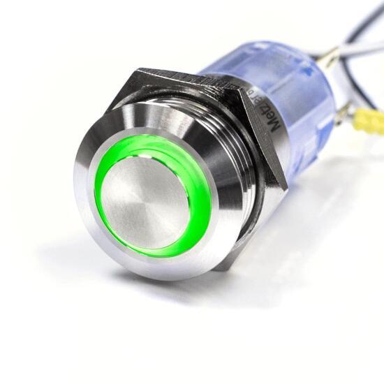 Edelstahl Drucktaster Ø16mm Hervorstehend LED Ring Grün