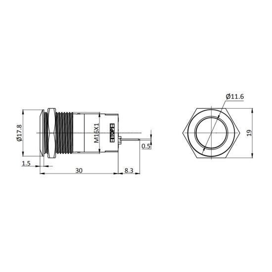 Stainless steel pushbutton 0.63 inch flat