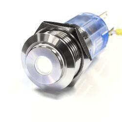 Edelstahl Druckschalter Ø16mm Hervorstehend LED Punkt Weiß