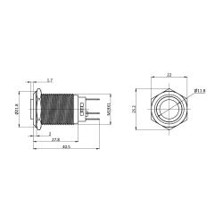 Ø19mm hervorstehender Edelstahl-Schalter mit weißer LED Ringbeleuchtung