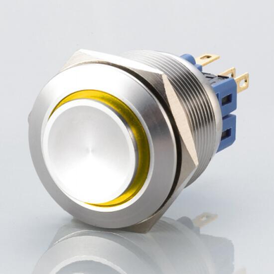 Edelstahl Druckschalter Ø25mm Hervorstehend LED Ring Gelb
