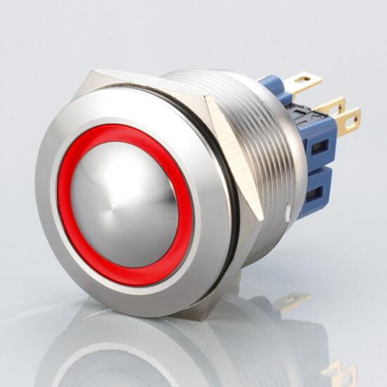 Edelstahl Druckschalter Ø25mm Gewölbt LED Ring Rot