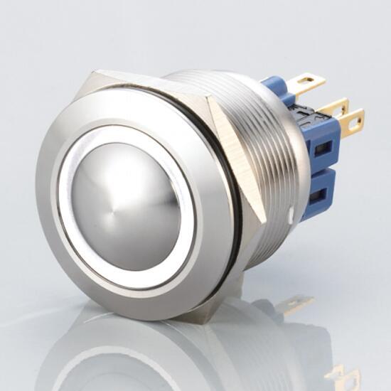 Edelstahl Druckschalter Ø25mm Gewölbt LED Ring Weiß