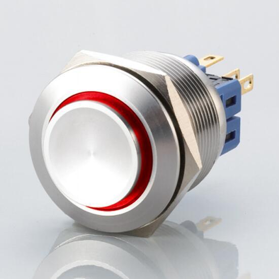 Edelstahl Drucktaster Ø25mm Hervorstehend LED Ring Rot