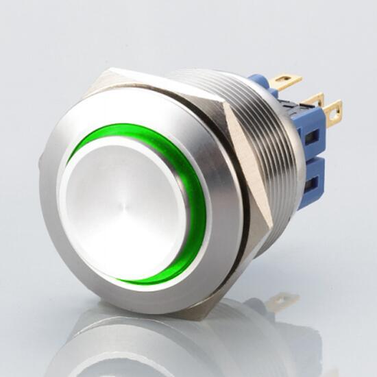 Edelstahl Drucktaster Ø25mm Hervorstehend LED Ring Grün