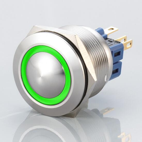 Edelstahl Drucktaster Ø25mm Gewölbt LED Ring Grün