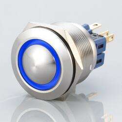 Stainless steel push buttons Ø0.99 inch flat LED Ring Blue