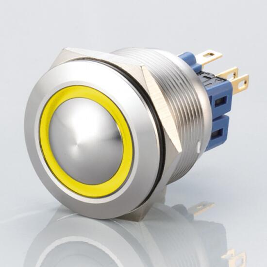 Edelstahl Drucktaster Ø25mm Gewölbt LED Ring Gelb