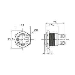 Stainless steel push buttons Ø0.75 inch Projecting...