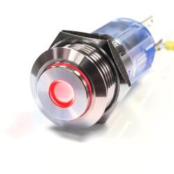 Stainless steel pushbutton 0.63 inch Projecting LED Spot Red