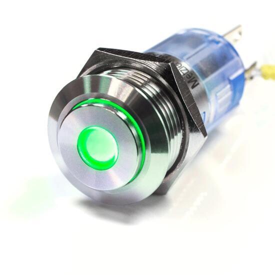 Edelstahl Drucktaster Ø16mm Hervorstehend LED Punkt Grün