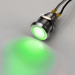 Stainless Steel LED indicator light green Ø0.47 inch