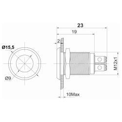 Edelstahl LED Kontroll Leuchte Ø12mm Grün