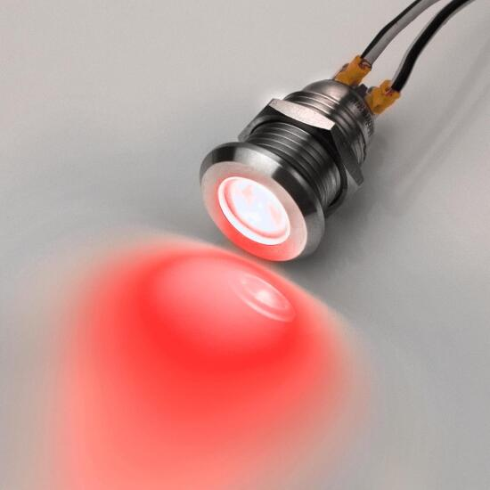 Stainless Steel LED indicator light red Ø0.47 inch