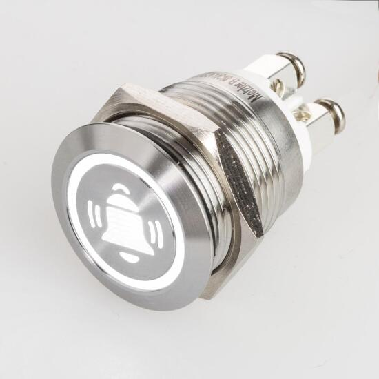 Stainless steel push buttons Ø0.75 inch LED bell symbol white screw contacts