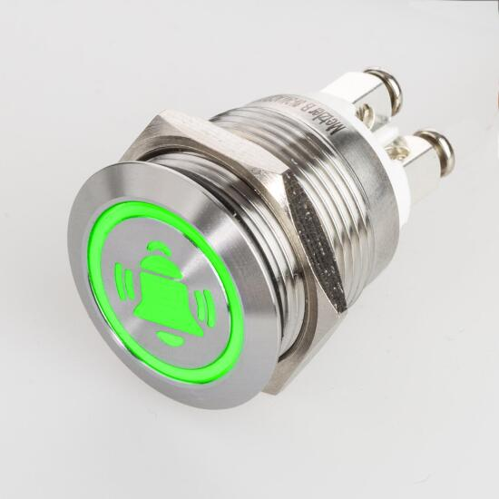 Stainless steel push buttons Ø0.75 inch LED bell symbol green screw contacts