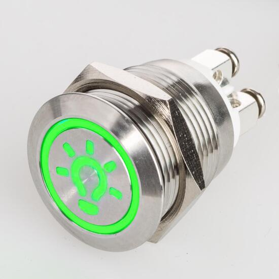 Stainless steel push buttons Ø0.75 inch LED icon light green screw contacts
